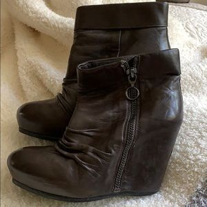 ASH Choc Brown Leather Platform Wedge Ankle Boots